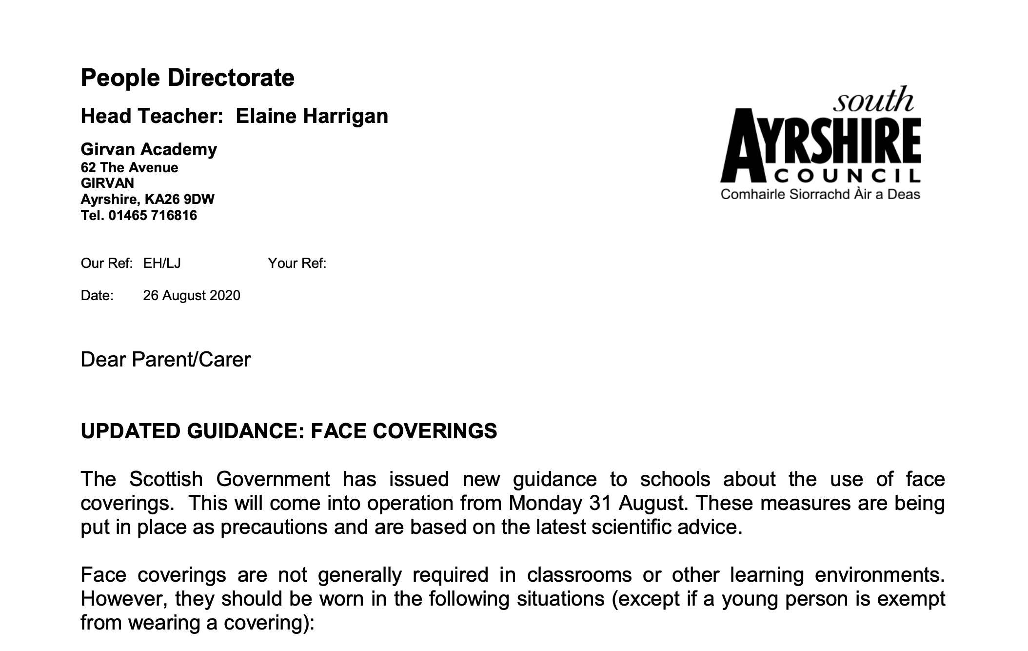 Face coverings.