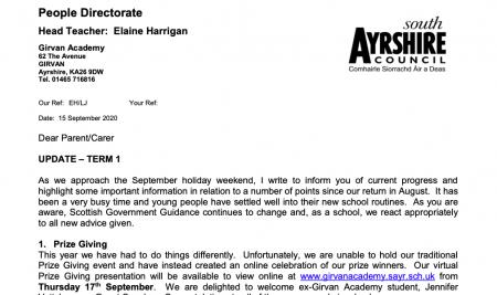 Head Teacher Letter September 2020