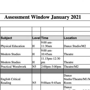Assessment Timetable Jan 2021